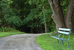 Park Bench by trail Royalty Free Stock Photography