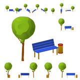 Park bench, a tree and a wheelie bin in different projections from different angles, isometric, flat. Isolated on white background.  Royalty Free Stock Photo