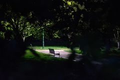 Park bench through the trees at night stock photography