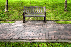 Park bench between two trees Royalty Free Stock Image