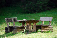 Park Bench, Val Visdende, Italy, August 007. Isolated Bench on a Dolomites Park in Veneto Stock Images