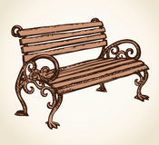 Old Wooden Bench Vector Drawing Stock Vector