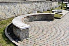 Park bench, wall royalty free stock photos