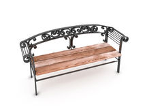 Park Bench  on white background. 3D render image Royalty Free Stock Image