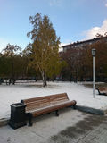 Park bench. In the winter evening, Novosibirsk Royalty Free Stock Photo