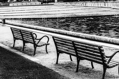 Park Benches Black and White Royalty Free Stock Photography