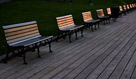 Park Benches on the Boardwalk Stock Image