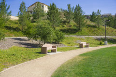 Park Benches in California Suburbs Royalty Free Stock Photo