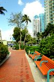 Park benches and deluxe buildings, South Florida Royalty Free Stock Image