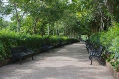 Park benches in garden Royalty Free Stock Photos