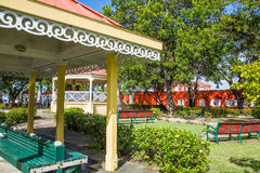 Park Benches and Gazebo in Public Park Royalty Free Stock Photo