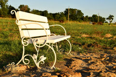 Park benches. Old park benches in the evening, Summer Royalty Free Stock Photography