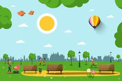 Park with Benches, People and City Skyline Silhouette. Sunny Day in City. Nature Vector Illustration Royalty Free Stock Photo