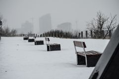 Park benches in a row outside in winter. Cold outdoor scene n Stock Photos