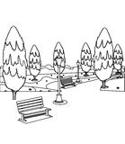 Park with benches and trees coloring page Stock Photography