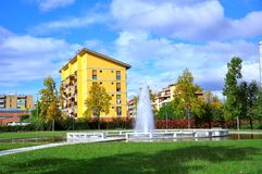 Park and blocks of flats in Italy  Stock Photo