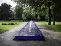 Park with blue fountain, Esbjerg, Denmark Royalty Free Stock Image