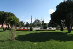 Park at Blue Mosque - Sultan-Ahmet-Camii, in Istanbul, Turkey. Stock Photos