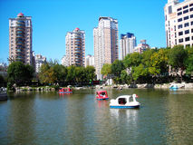 Park in blue sky. The beautiful  park in Tianjin China people like riding  paddle boats on lake at weekends in summer Stock Photos