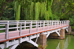 Park bridge over lake Royalty Free Stock Photo