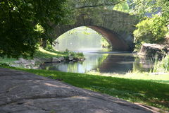 Park with bridge and river. Bridge and river in center-park New York with squirrel, colorful water, quiet spot Stock Image