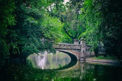 Park bridge. The way you could relax for an hour Royalty Free Stock Photo