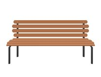 Park brown wooden bench  on white in flat style Stock Photo