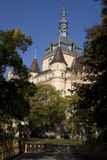 Park Building Steeple in Budapest Park. Upward view of famous castle in the central park of Budapest Hungary Royalty Free Stock Image