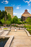 Park and buildings in downtown Ashevillle, North Carolina. Stock Image