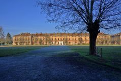 Ancient parade ground. The park and the buildings of an old barrack stock photos