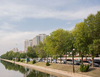 Park and buildings in Tianjin,China. Stock Image