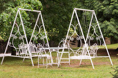 Park cafe chairs and table Royalty Free Stock Photos