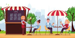 Park cafe with umbrella. People Drink Coffe in Outdoor Street Cafe on Restaurant Terrace. Park with Outside Cafe in Urban City royalty free illustration