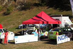 Park car service for rally cars Royalty Free Stock Images