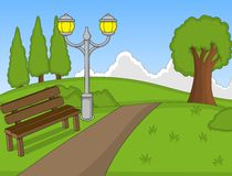 Park cartoon with bench. Full color Stock Photo