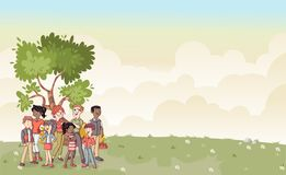 Park with cartoon family. Nature background Royalty Free Stock Photography