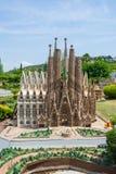 Park of Catalunya en miniaturas,model of Sagrada Familia in Barc stock photography
