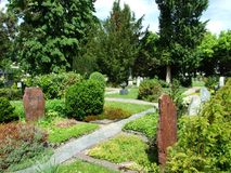 Park at the cemetery in Kreuzlingen. Canton of Thurgau, Switzerland royalty free stock image