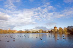 Park in Center of Malmo Sweden. Beautiful landscape of lake and city view at park in center of Malmo, Sweden , with blue sky and clouds. Winter season Royalty Free Stock Photography
