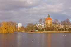 Park in Center of Malmo Sweden. Lake view at park in center of Malmo, Sweden Stock Image