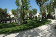 Park in the center of Narbonne, France stock photos