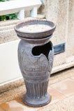 Park ceramic trash bin for smoking area Stock Photo