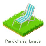 Park Chaise-longue Icon, Isometric Style. Royalty Free Stock Image
