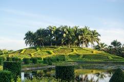 Park, Chiang Mai, Thailand. Ornamental hill topped with palm trees at Royal Park Rajapruek, Chiang Mai, Thailand Royalty Free Stock Photography