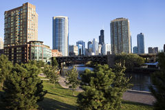Park by Chicago River Royalty Free Stock Photos