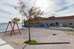 Park for children. Near the adriatic sea. City of Kastel Stari, Dalmatia region, Croatia Stock Images