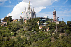 Park  and  Church at Tibidabo in Barcelona Stock Photography