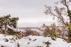 Park of citadel covered with snow, Buda Castle, Budapest , Hungary royalty free stock photos