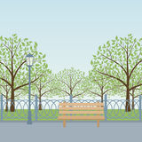 Park. City park with bench, trees and lamp post. Vector illustration Royalty Free Stock Images