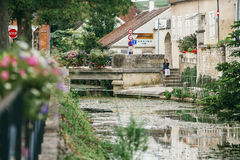 Park in the city of Chablis. A park in the city of Chablis, lots of greenery and a view of the beautiful lake in flowers. July 23, 2017 royalty free stock photo
